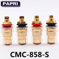 sampurchase PAPRI 4PCS Pure Brass Gold Plated CMC (858-S)  Speaker Tube Amplifier Binding Post Terminal Connector Short Hread