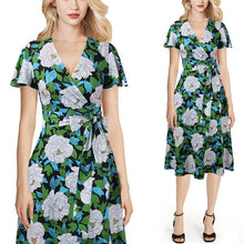sampurchase Vfemage Women V Neck Tie Waist Flutter Short Sleeve Pockets Print Casual Party Fit and Flare Skater Swing A-Line Wrap Dress 563