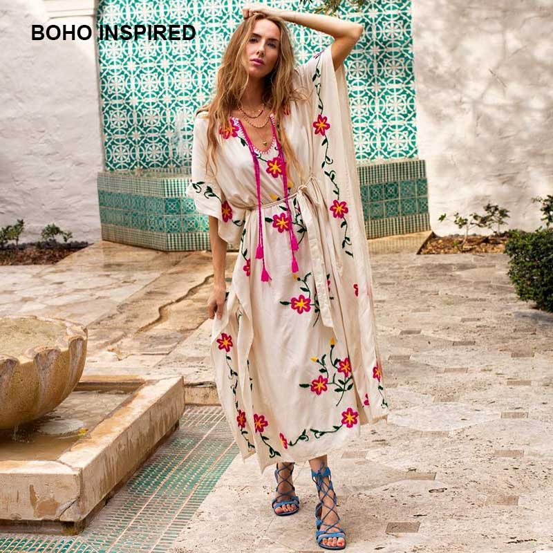 sampurchase women's Oversized boho dress floral embroidered V-neck tassel summer dresses sashes batwing sleeve long chic maxi dress kaftans