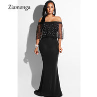 sampurchase Ziamonga Women Black Long Dress Plus Size Ruffles Beaded Off Shoulder Mermaid Dress For Evening Party Short Sleeve Vestidos