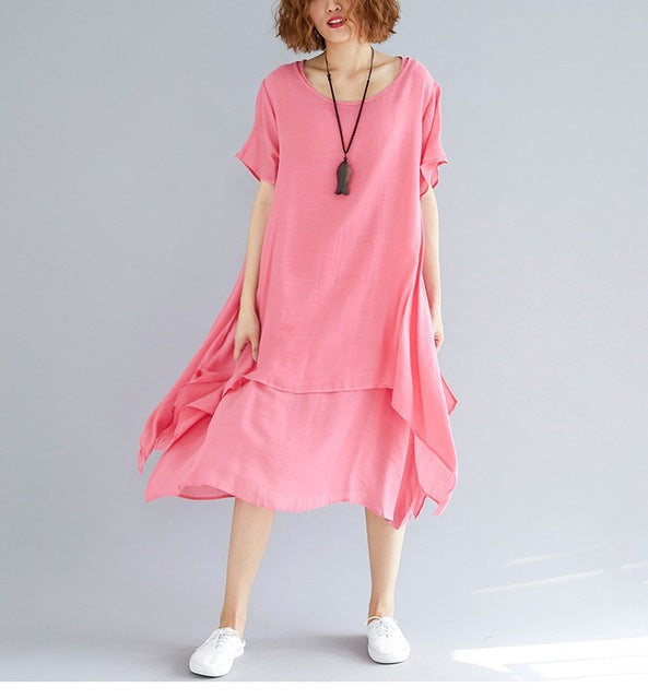 sampurchase NYFS 2018 New Summer dress Vintage loose Cotton Linen Comfortable Literary fake two pieces women Long dress Vestidos Robe