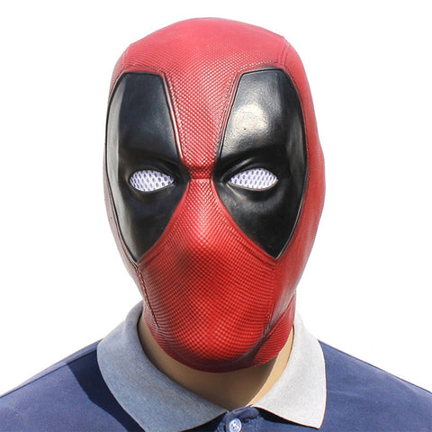 SAMPURCHASE Handmade Deadpool Cosplay Mask Red Latex