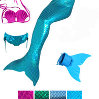SAMPURCHASE 4 Pieces Girl's Mermaid Tails For Swimming Costume