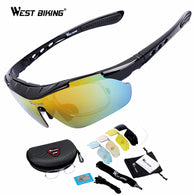 sampurchase WEST BIKING Cycling Glasses 5 Lens Windproof Anti-fog With Mypia Frame Sport MTB Bike Bicycle Polarized Cycling Glasses 5 lens