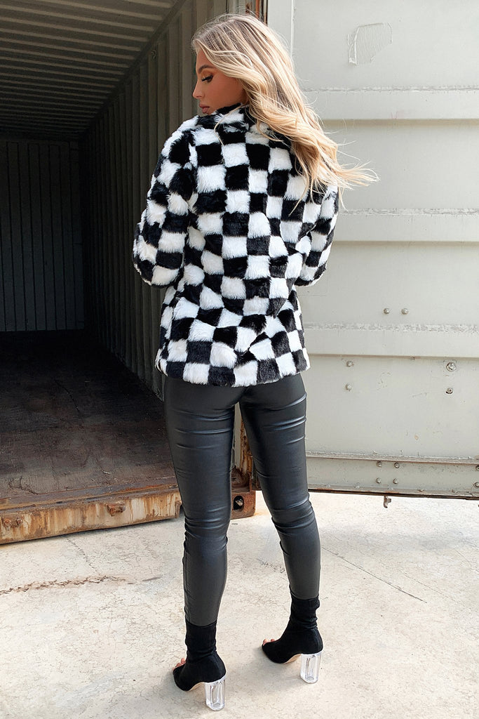 Arantra Faux Coat - Black and White Checkprint