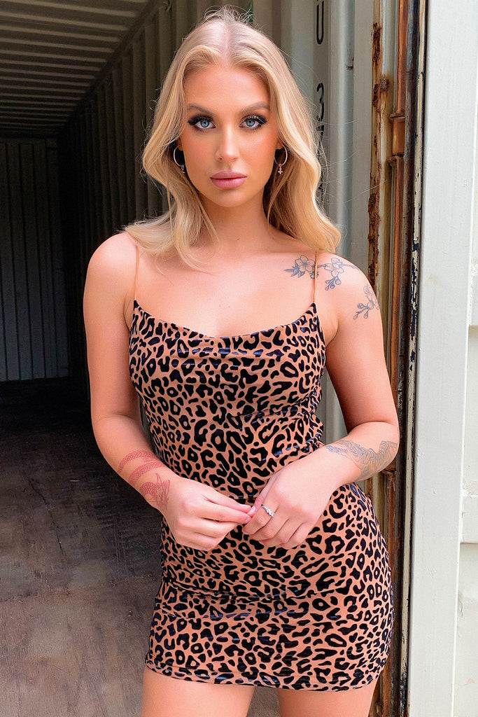 Ashanti Dress - Brown Leopard