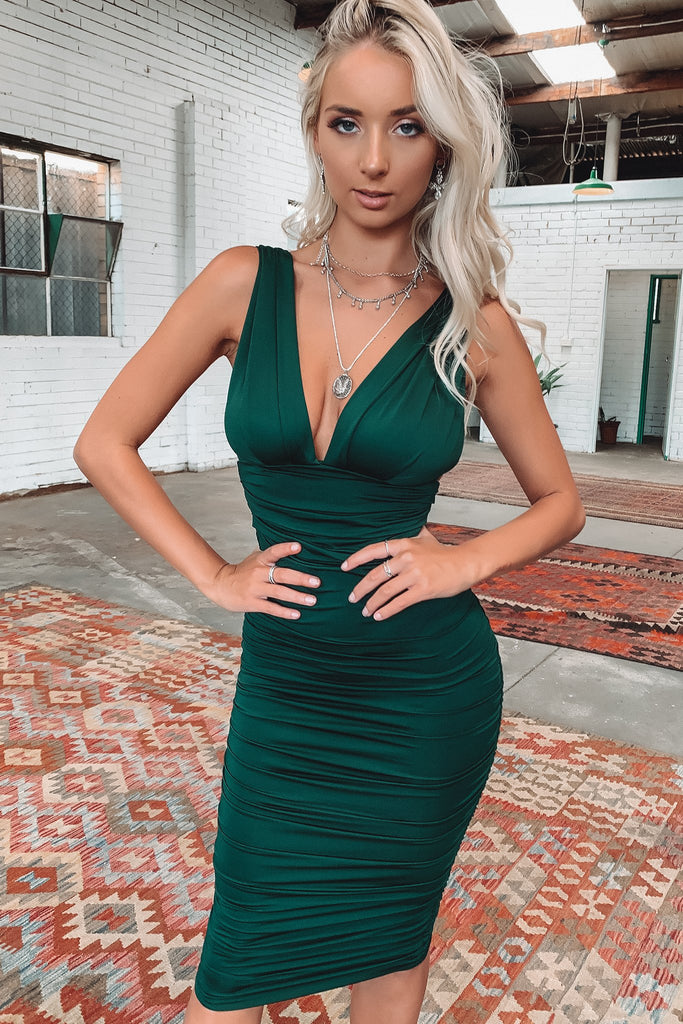 Trixie Midi Dress - Emerald