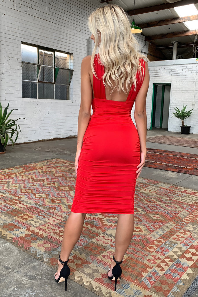 Trixie Midi Dress - Red