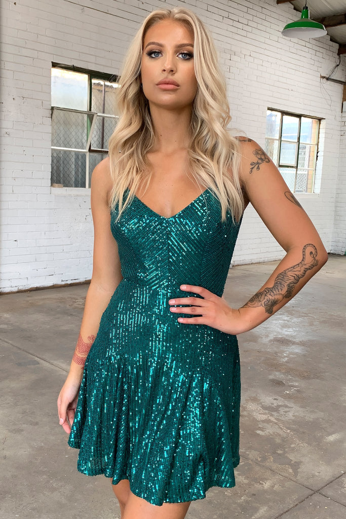 Joplin Dress - Emerald Sequin