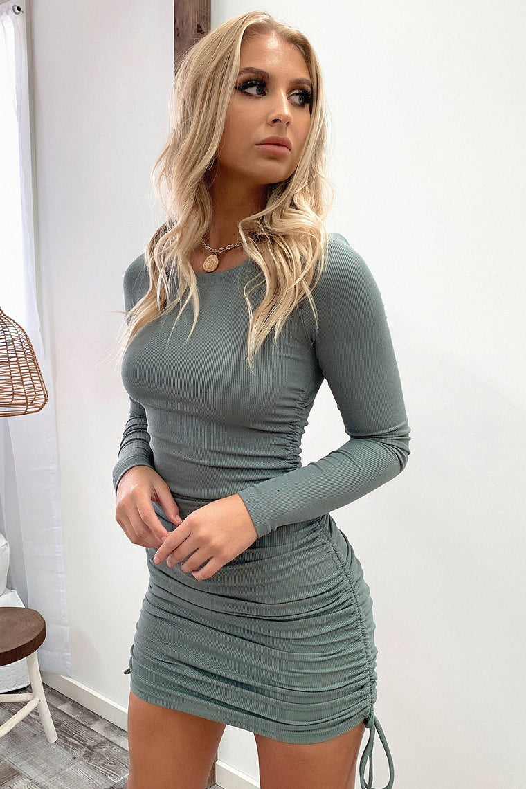 *Pre-Order*Miller Long Sleeve Dress - Khaki *Shipping Late June*