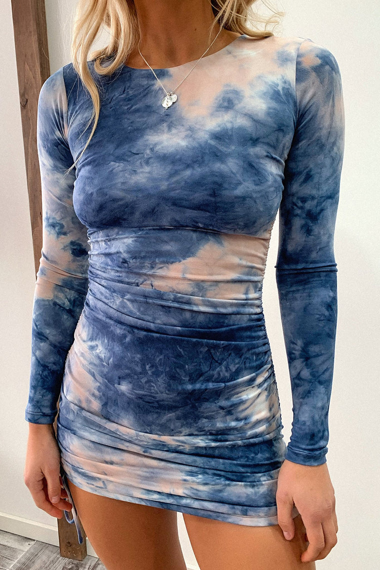 Miller Long Sleeve Dress - Blush/Navy Tie Dye