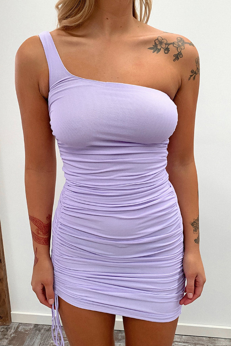 Paityn One Shouldered Dress - Lilac