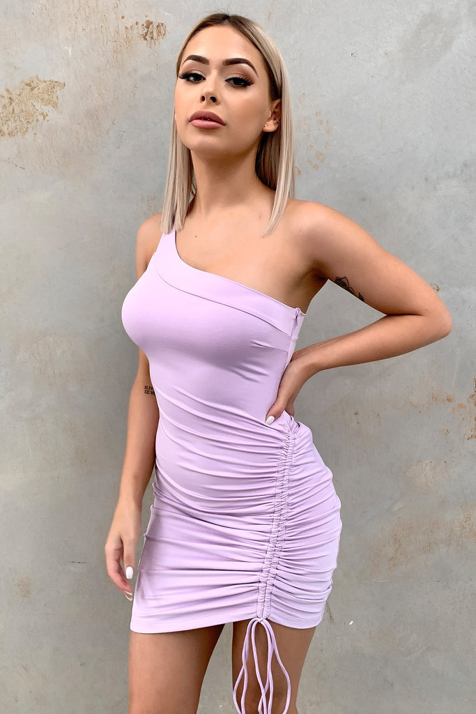 Verona One Shoulder Dress - Lilac