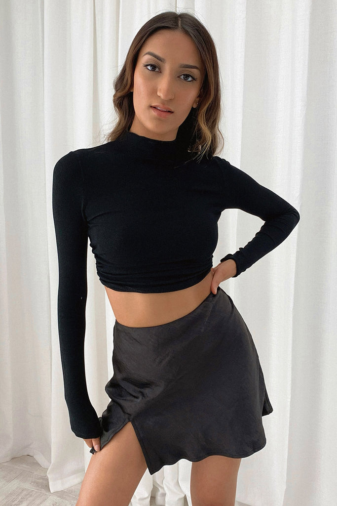 Honey Long Sleeve crop - Black