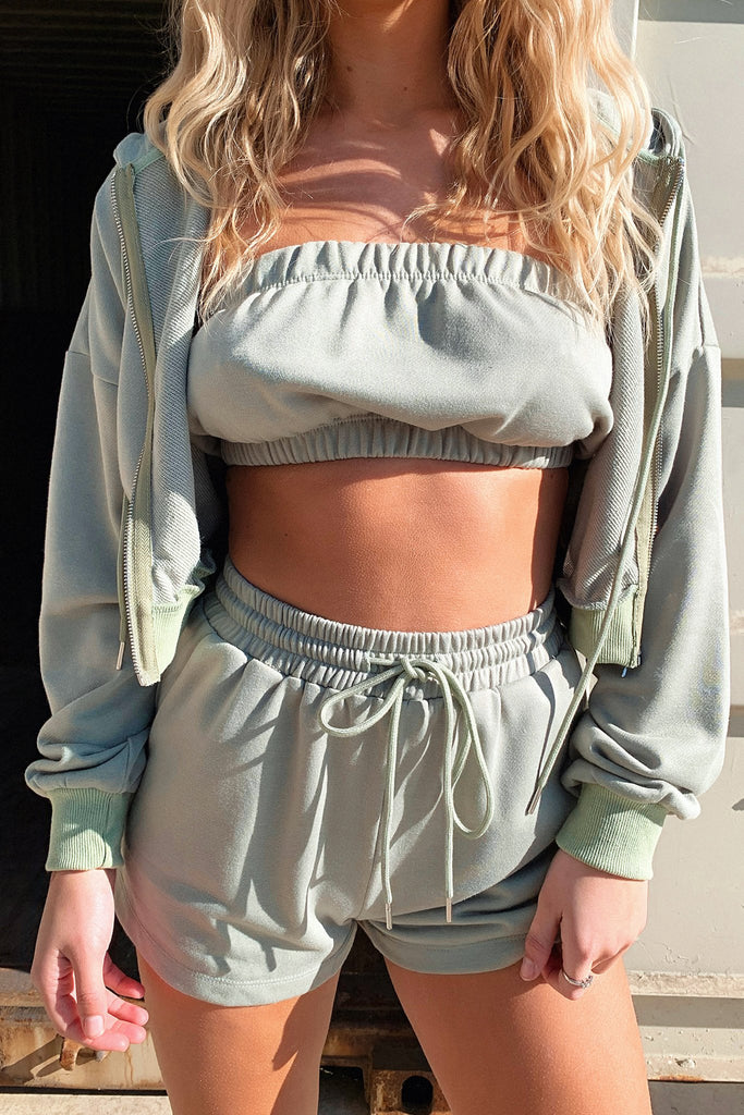 Kansas Cropped Hoodie - Army Green