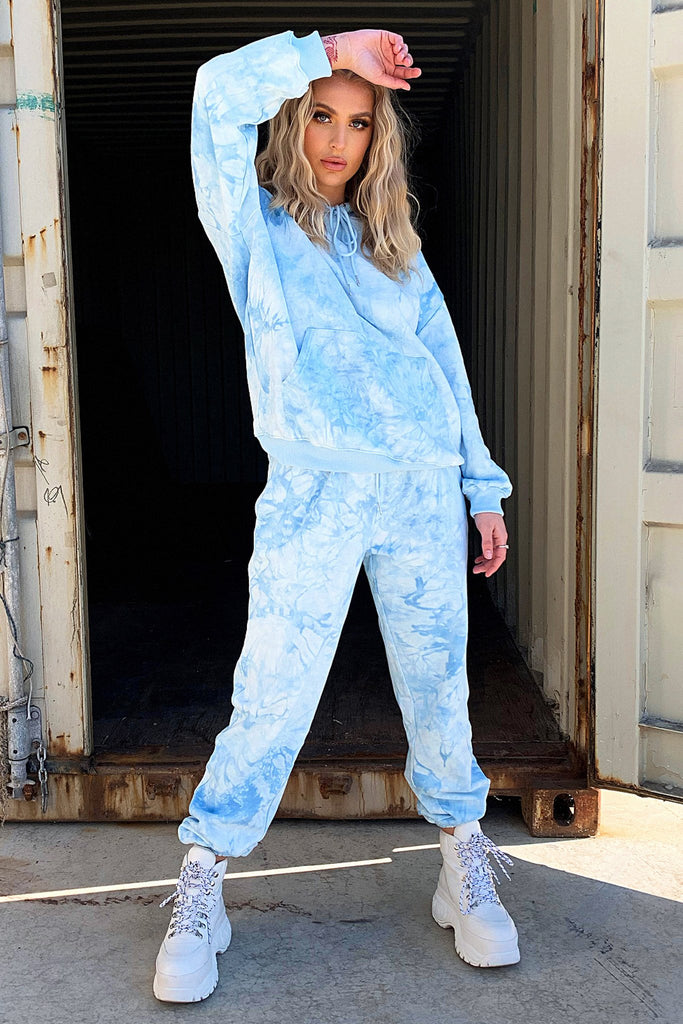 Kamakazi Full Length Sweater - Blue Tie Dye