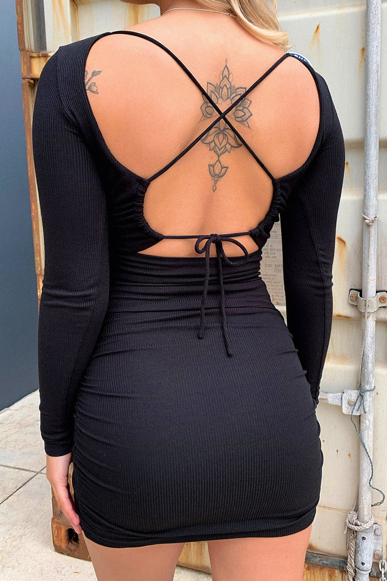 *Pre-Order* Brigitta Long Sleeve Dress - Black *Shipping Late Aug*