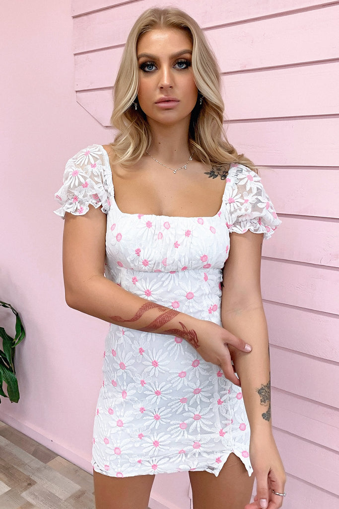 Rosy Dress - White Floral