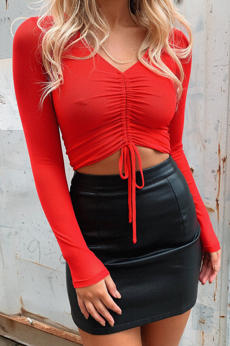 Zooey Long Sleeve Crop - Red