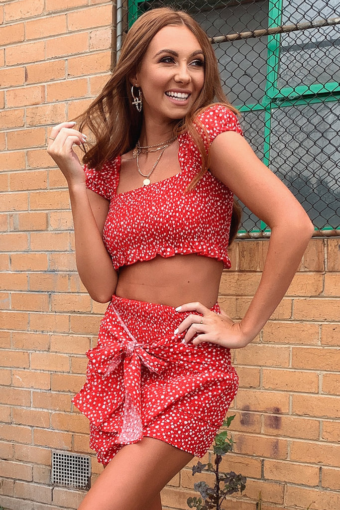Hyrem Crop - Red Floral