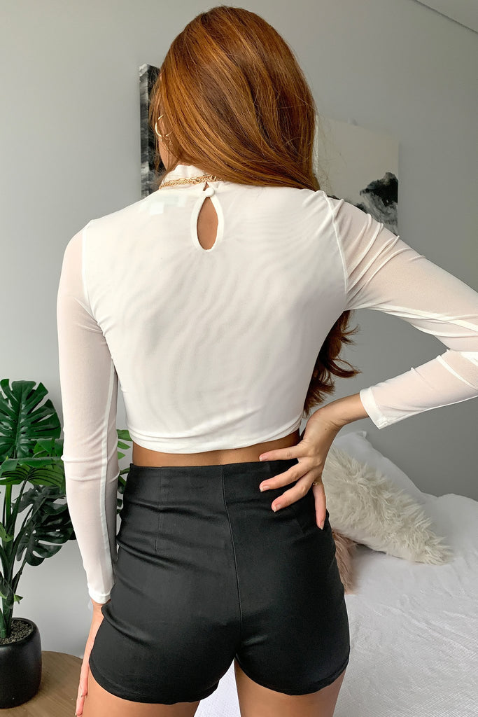 Jewel Mesh Top - White