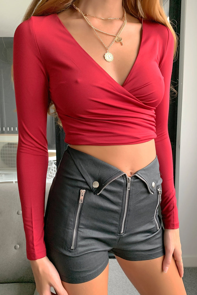 Belva Crop - Burgundy