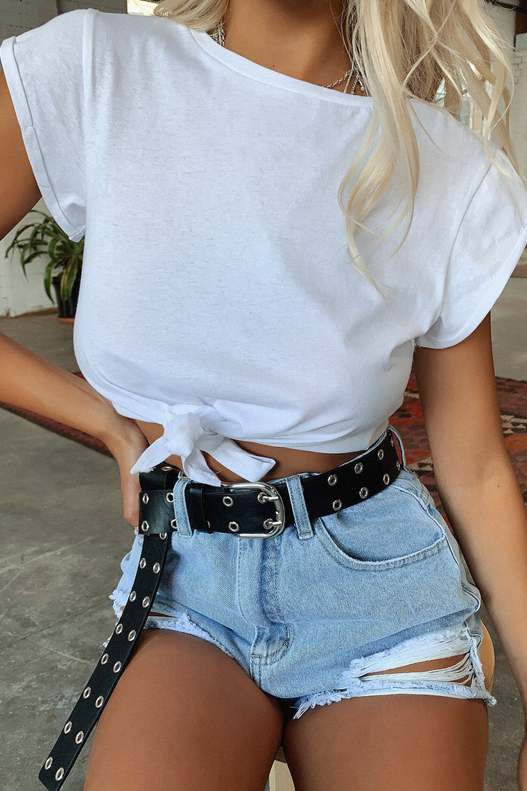 Jane Cropped Tee - White