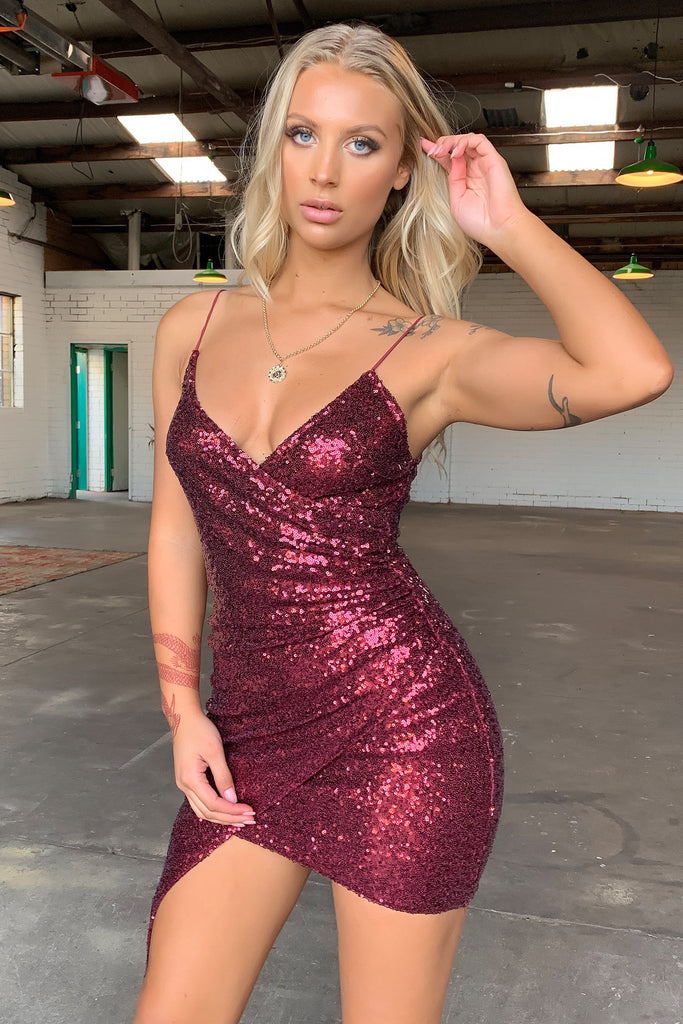 Portia Dress - Burgundy Sequin