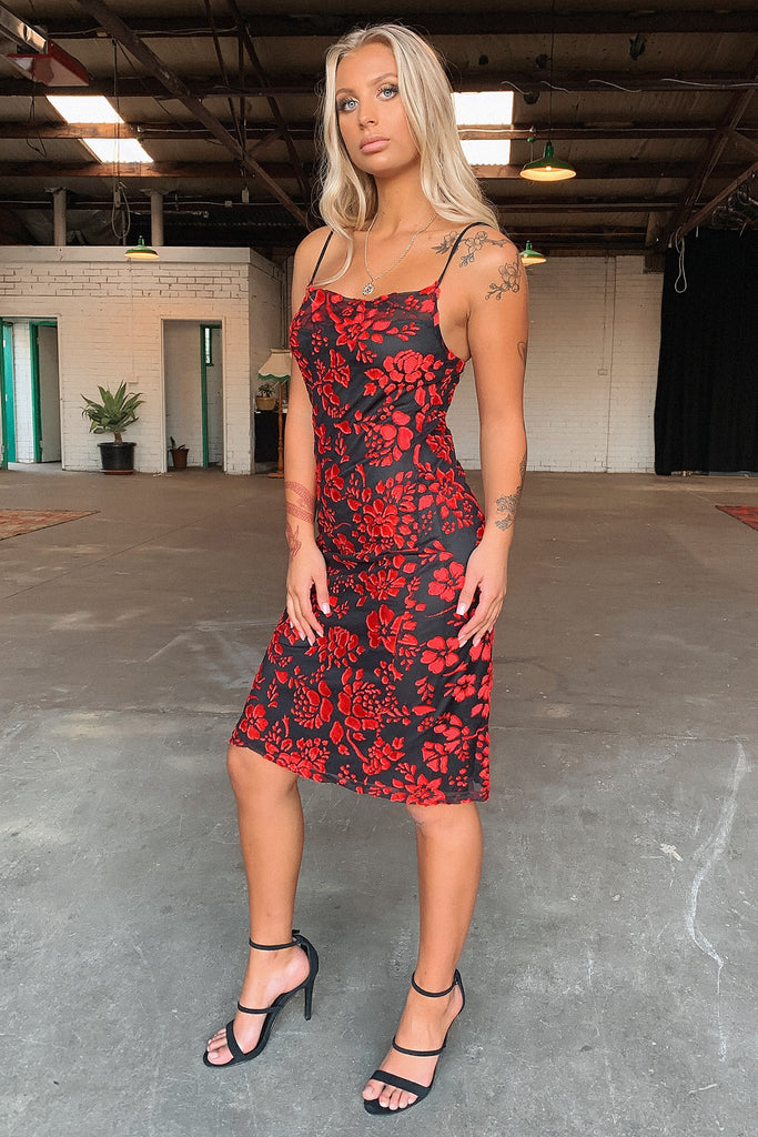 Duke Midi Dress - Red Floral