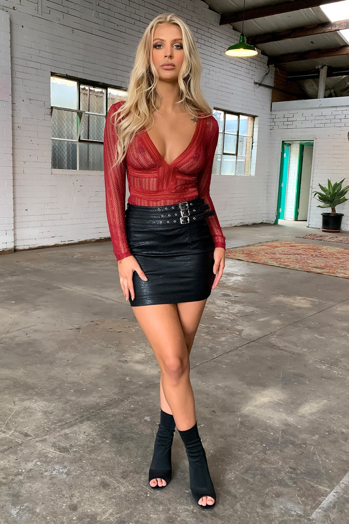 Wolfe Faux Leather Skirt