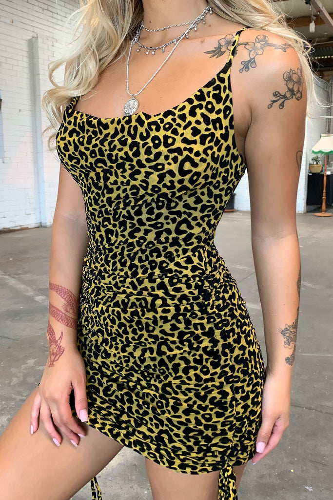 Galena Dress - Yellow Cheetah