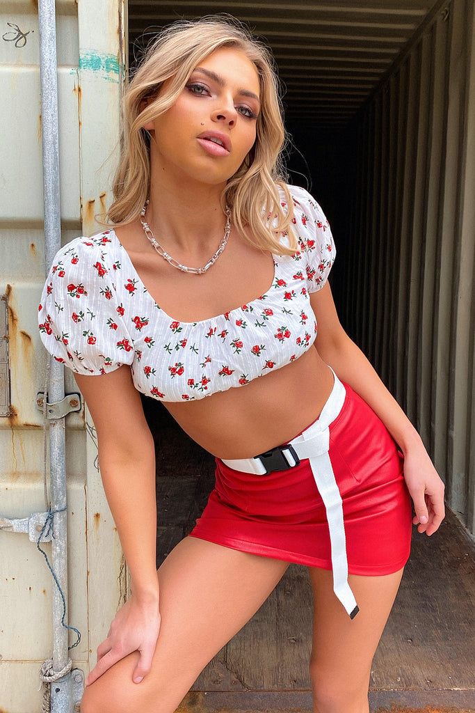 Shayla Short Sleeve Crop - White/Red