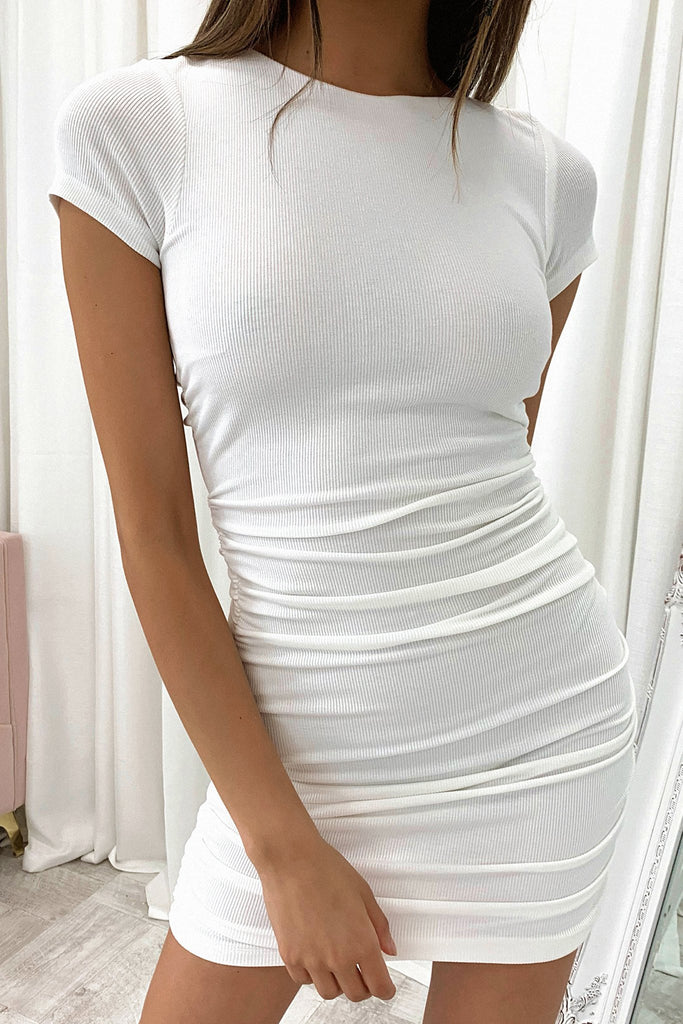 Brigitta Short Sleeve Dress - White