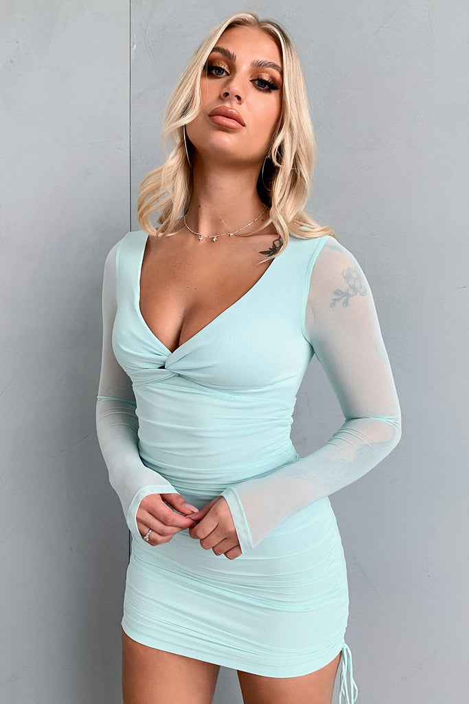 Cindus Long Sleeve Dress- Teal