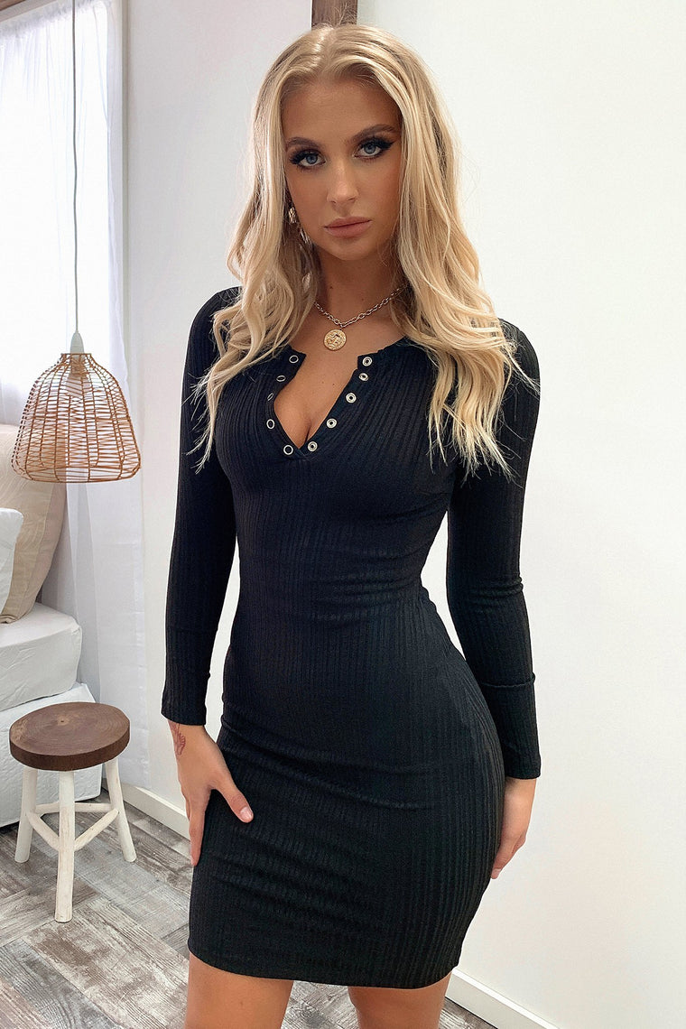 Keyla Longsleeve Dress - Black