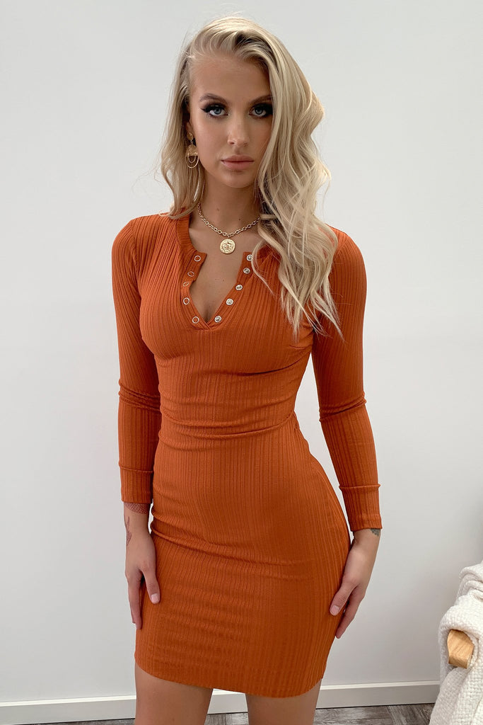 Keyla Long Sleeve Dress - Burnt Orange