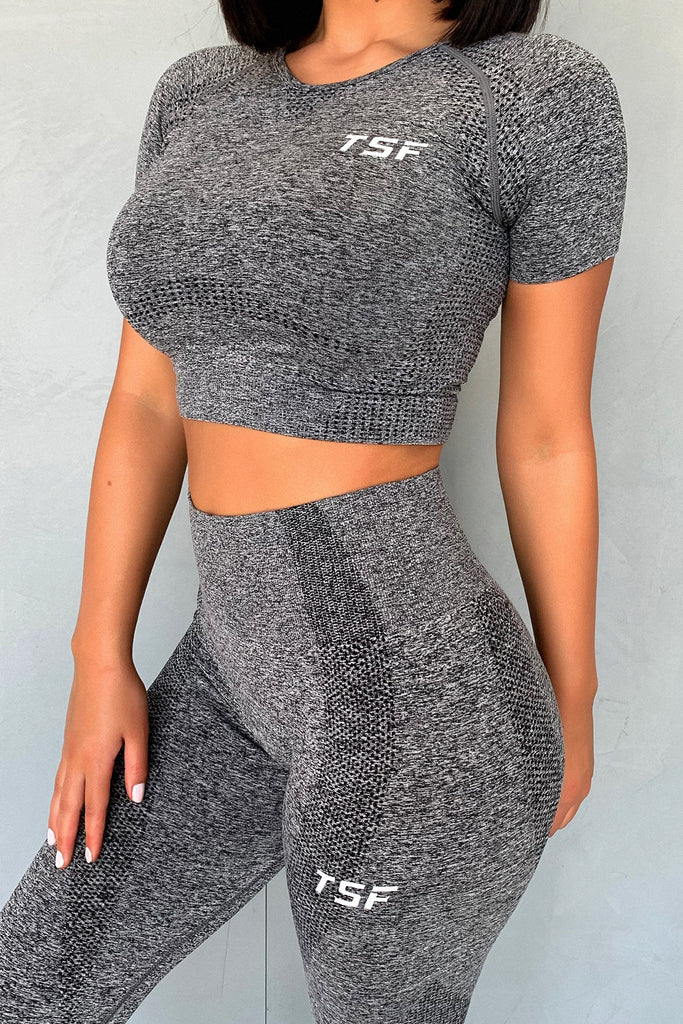 TSF Fox Short Sleeve Crop - Grey