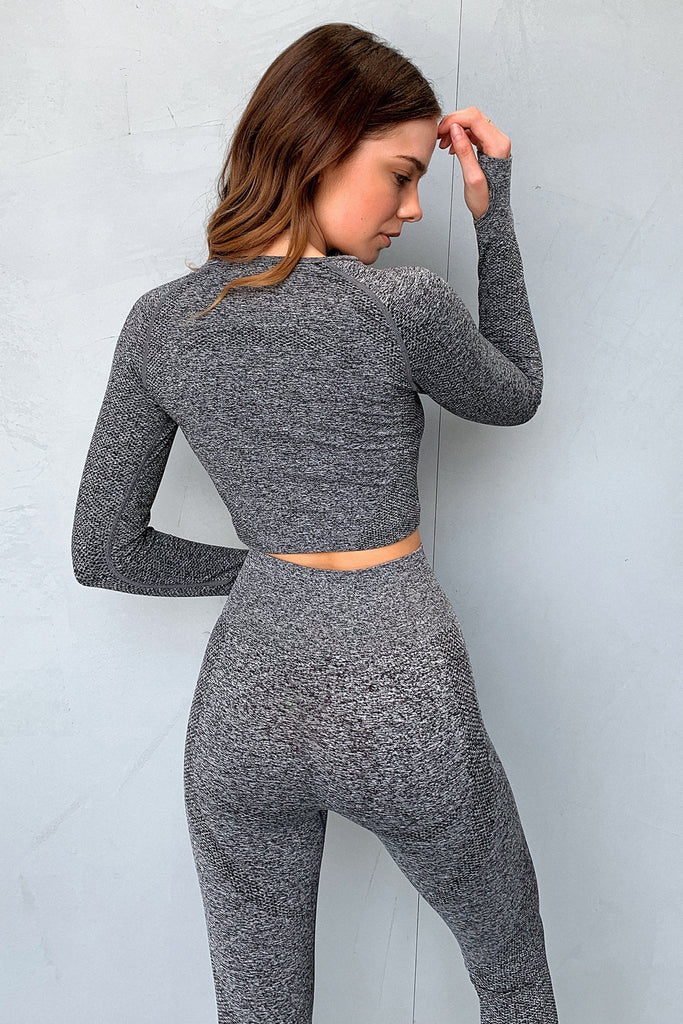 TSF Fox Long Sleeve Crop - Grey