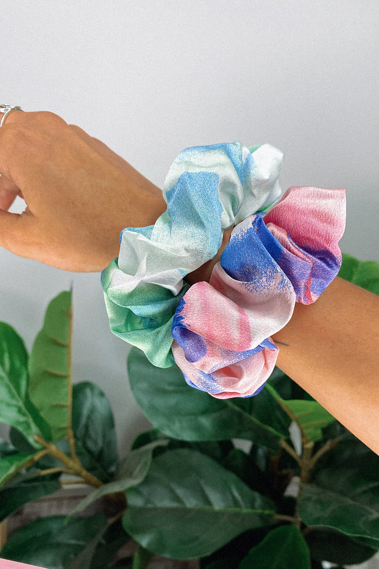 Scrunchie 2 Pack - Blue/Green & Pink/Navy