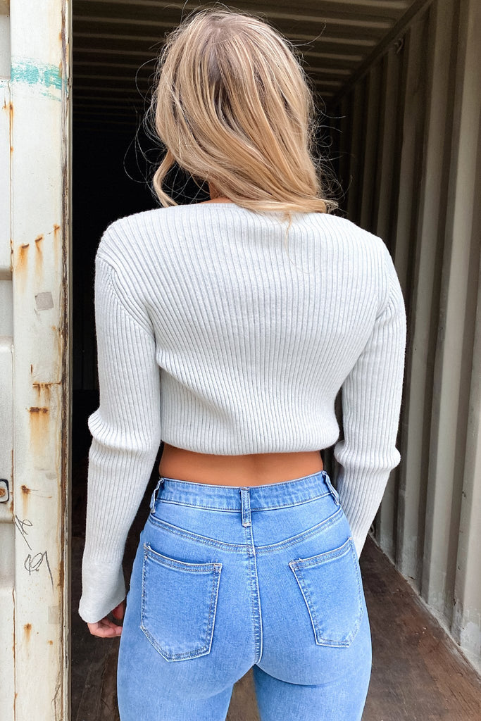 Italia Knitted Crop - Grey