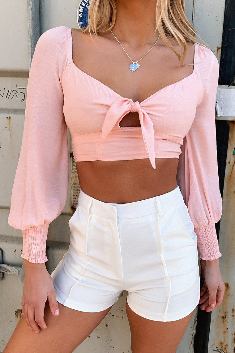 Aaliyah Crop Top - Salmon Pink