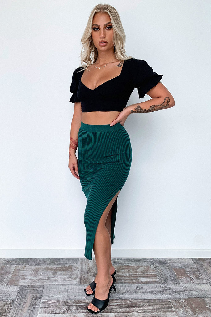 Karlie Knit Skirt - Emerald