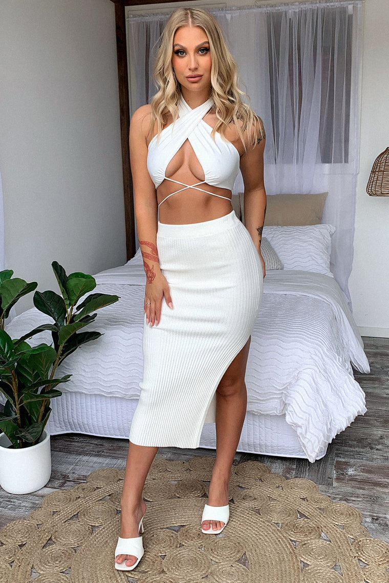 Karlie Knit Skirt - White