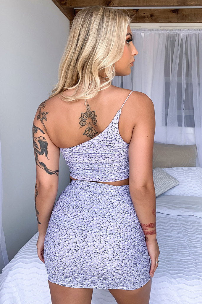 Libra Mesh Skirt - Purple/White Floral