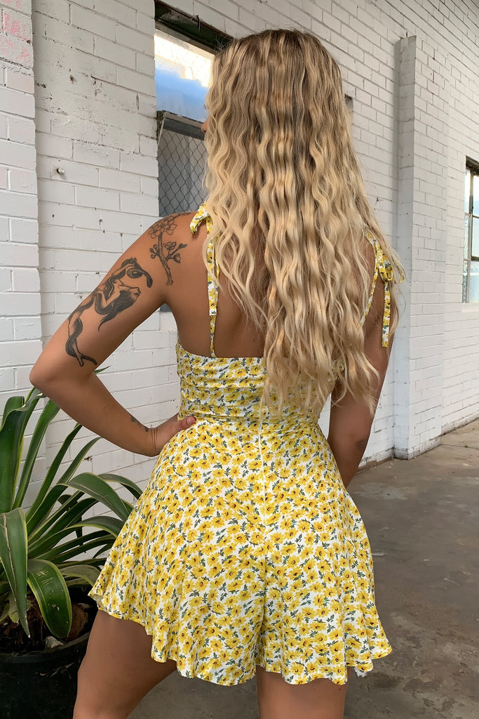 Fuschia Jumpsuit - Yellow Floral