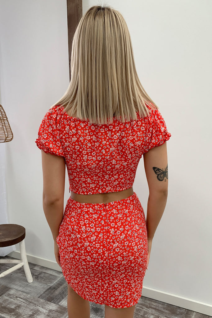 Faith Skirt - Red Floral