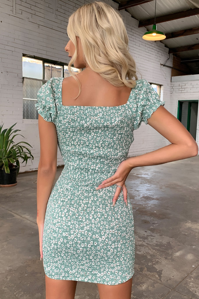 Blanney Dress - Green Floral