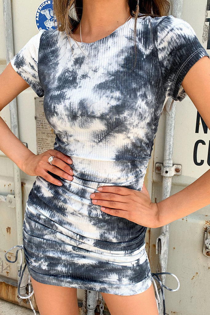 Miller Dress - Black and White Tie Dye
