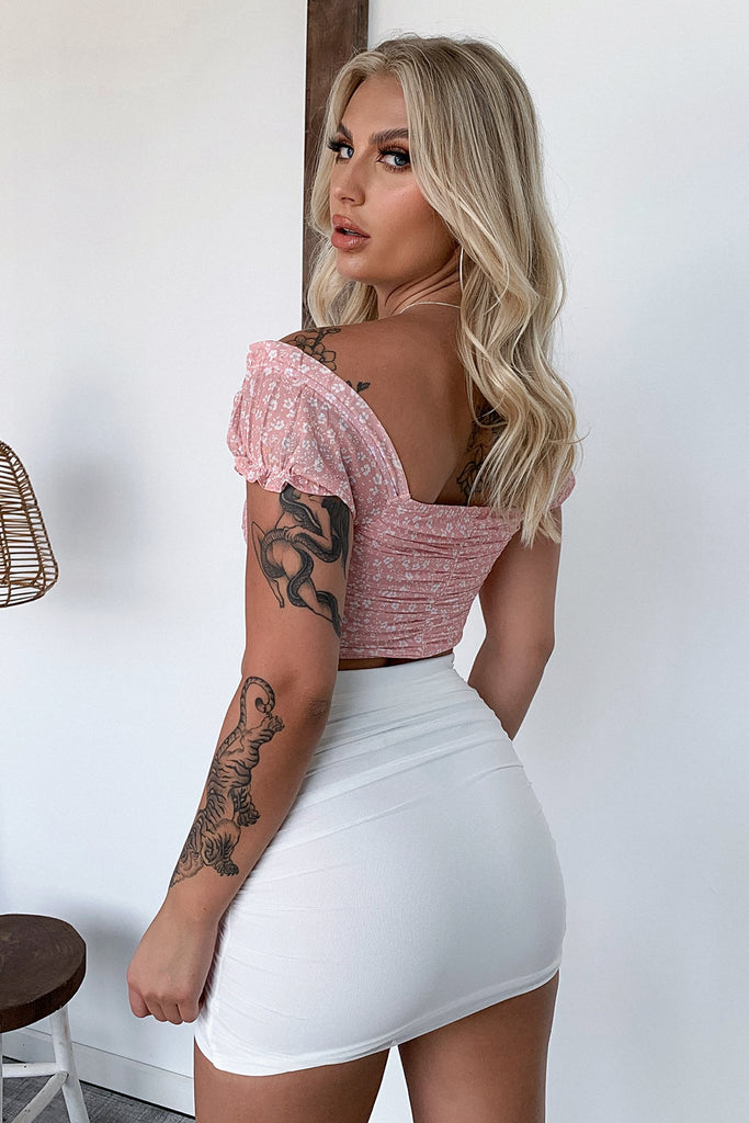 Rebecca Mesh Crop Top - Dusty Pink