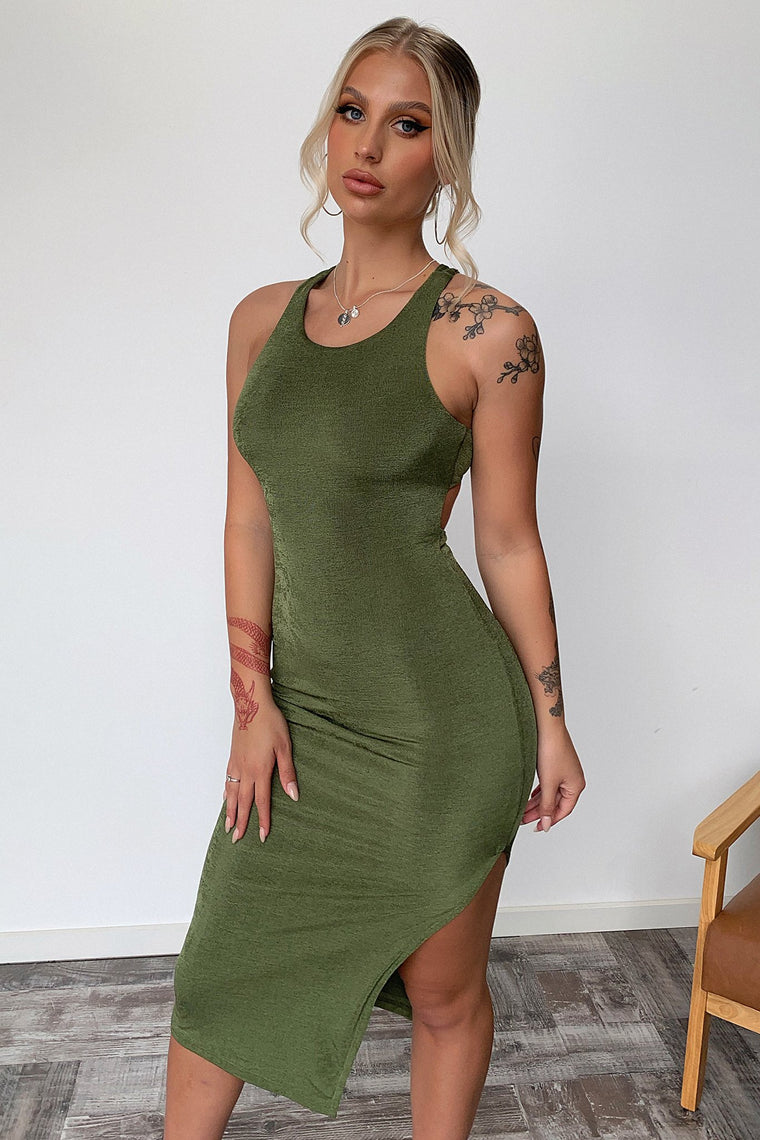 Renae Midi Dress - Khaki